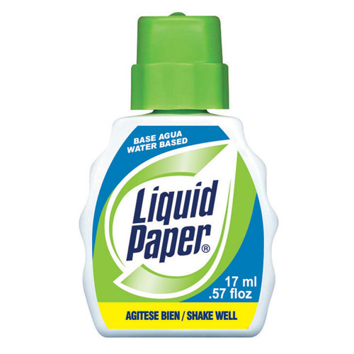 liquid paper Paper mate liquid paper fast-dry correction fluid contains 22 ml of white fast drying liquid with foam applicator it is used to cover ballpoint, gel, roller ball pen.